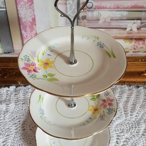 Vintage Bone China Mini Tea/Cake Stand PASTELS