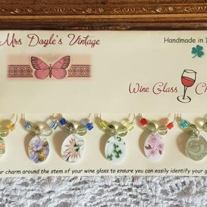 Vintage Bone China Wine Glass Charms