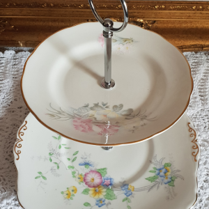 Vintage Bone China Tea/Cake Stand: 2-Tier