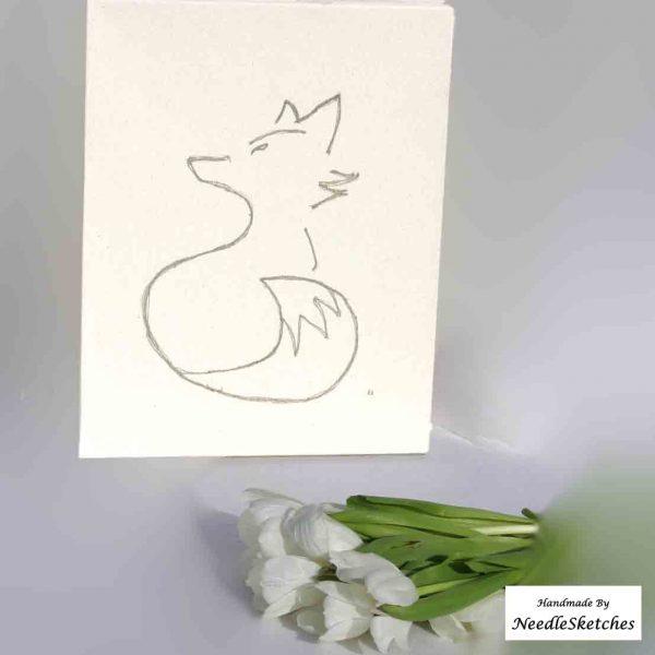 NeedleSketches Fox on Canvas