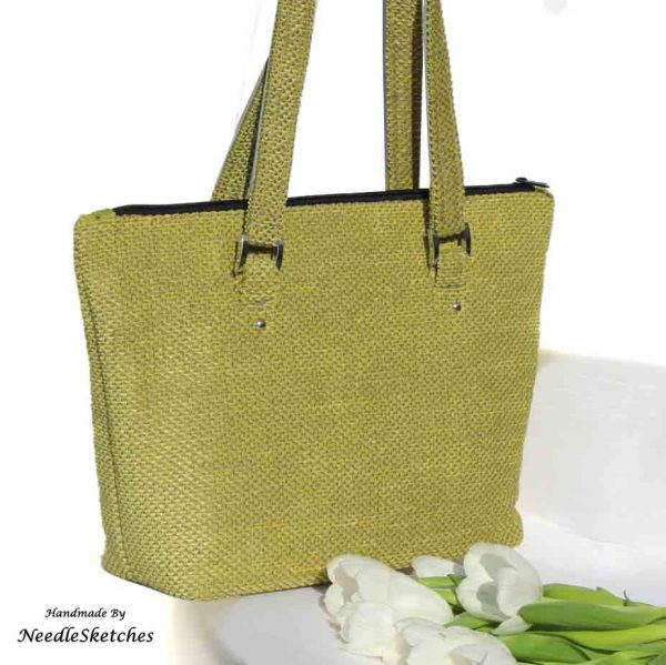Lime Green Shoulder Bag - 2A NeedleSketches with logo
