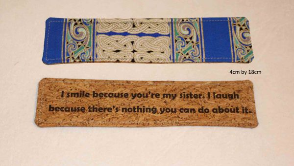 Bookmark -ink print on cork oak fabric with a cotton backing. Made in Ireland