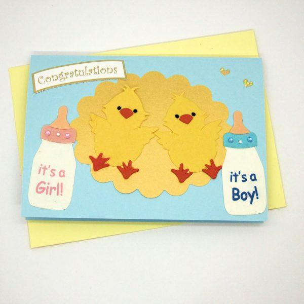 Handmade 'Baby twins' Card - 701 - 701a