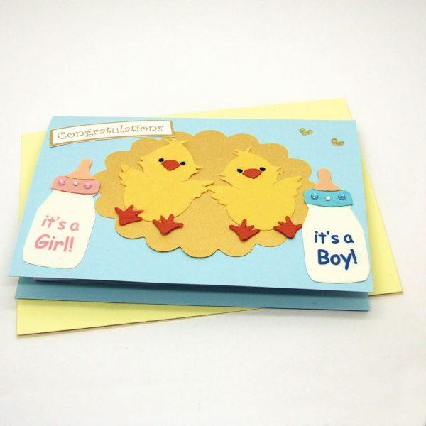 Handmade 'Baby twins' Card - 701 - 701b