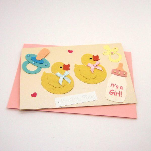 Handmade 'Baby twins' Card - 725 - 725b