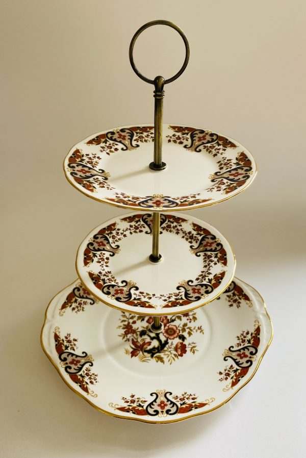 Cake Stand - 3 Tier Pink Decorative Colclough China
