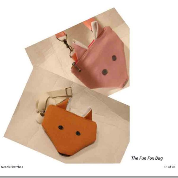 Fun Fox Bag PDF Sewing Pattern (measurement in Inches) - A pink fox image NeedleSketches for marketstreet ie