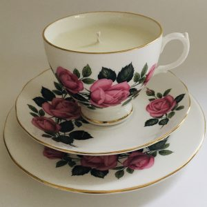 Teacup Candle - Pink Rose Dorchester Fine Bone China