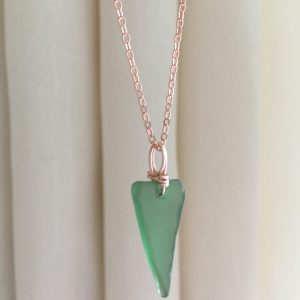 Simplicity - Green Sea Glass & Rose Gold necklace
