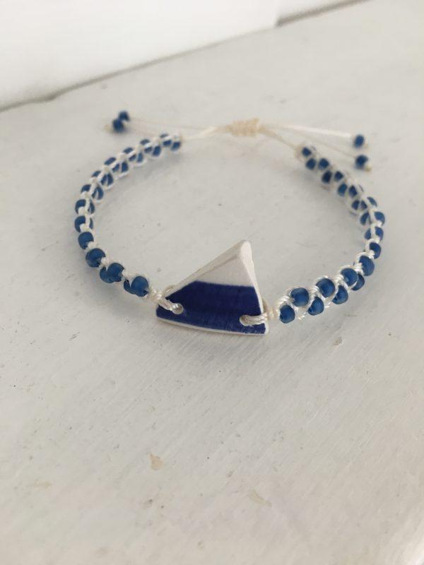 Blue Sea Pottery Macrame Bracelet