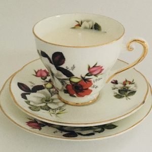 Teacup Candle - Red and White Floral Irish Royal Tara China