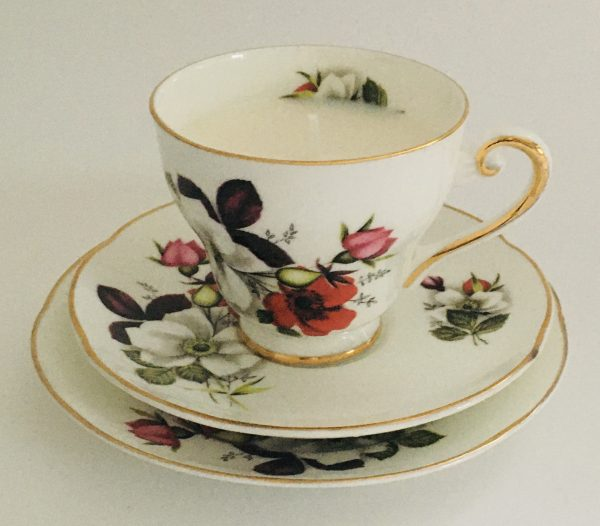 Teacup Candle - Red and White Floral Irish Royal Tara China