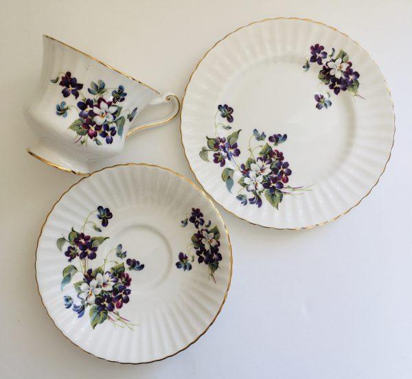 Teacup Candle - Purple Floral Paragon Fine Bone China - D3B01C52 C76E 4D17 B2B4 48B6C9019774