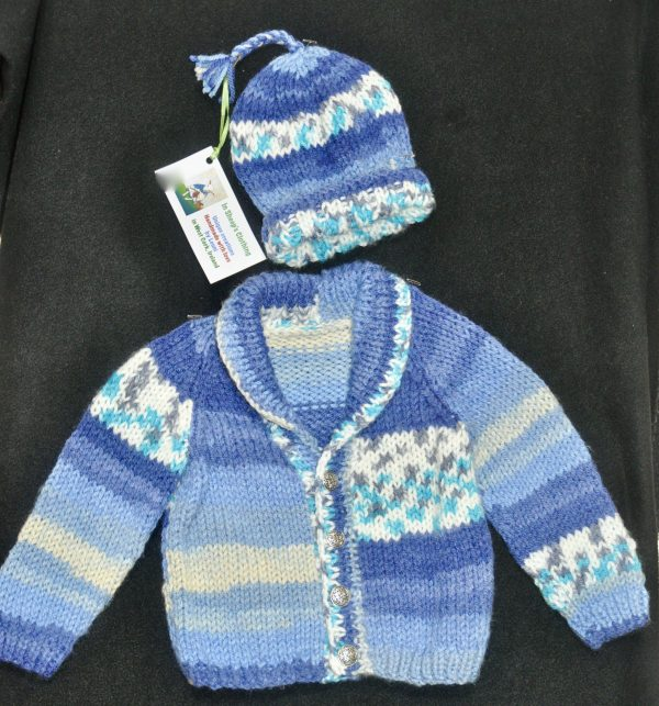 Chilling? Not! Knitted Cardigan and Hat Set