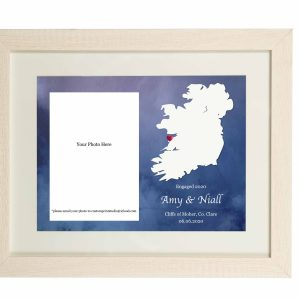 Engagement / Anniversary Map with Photograph Wall Print