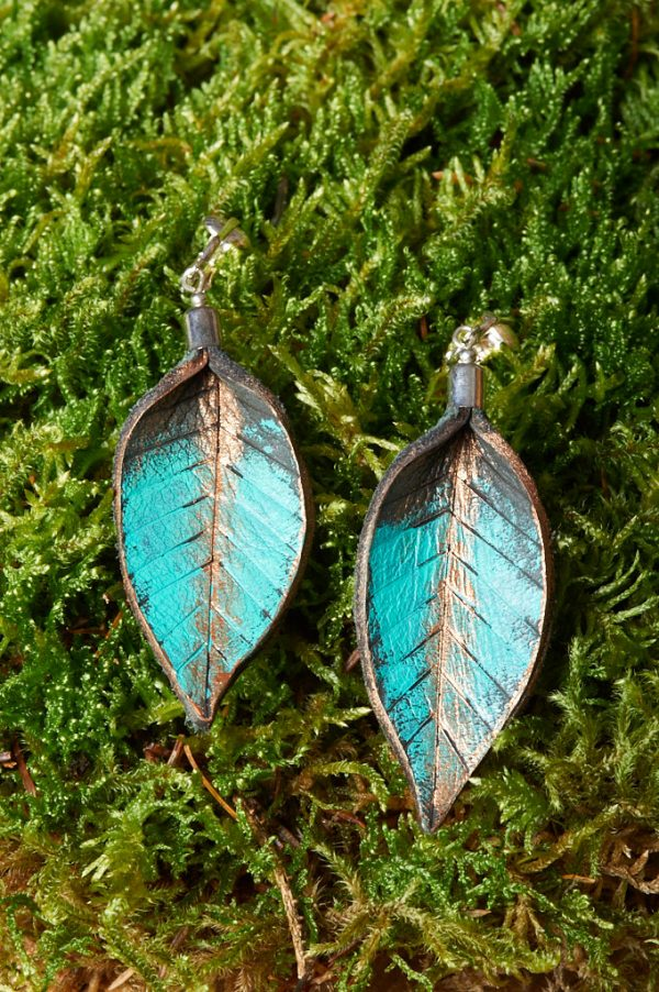 Hand Painted Leather Earrings or Clip - Handmade Leather Earrings by Ertisun 13