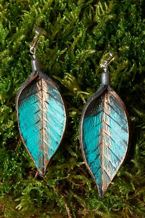 Hand Painted Leather Earrings or Clip - Handmade Leather Earrings by Ertisun 14