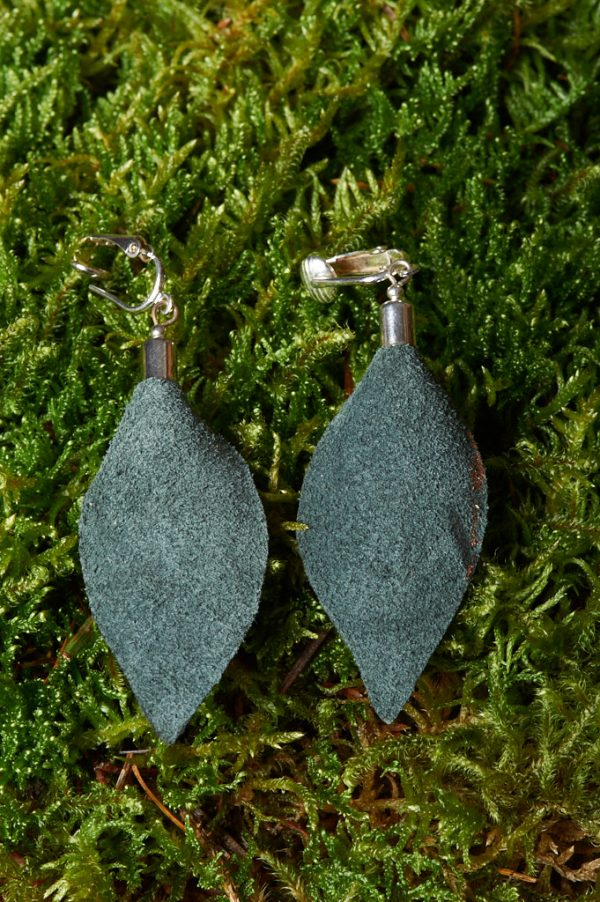 Hand Painted Leather Earrings or Clip - Handmade Leather Earrings by Ertisun 15