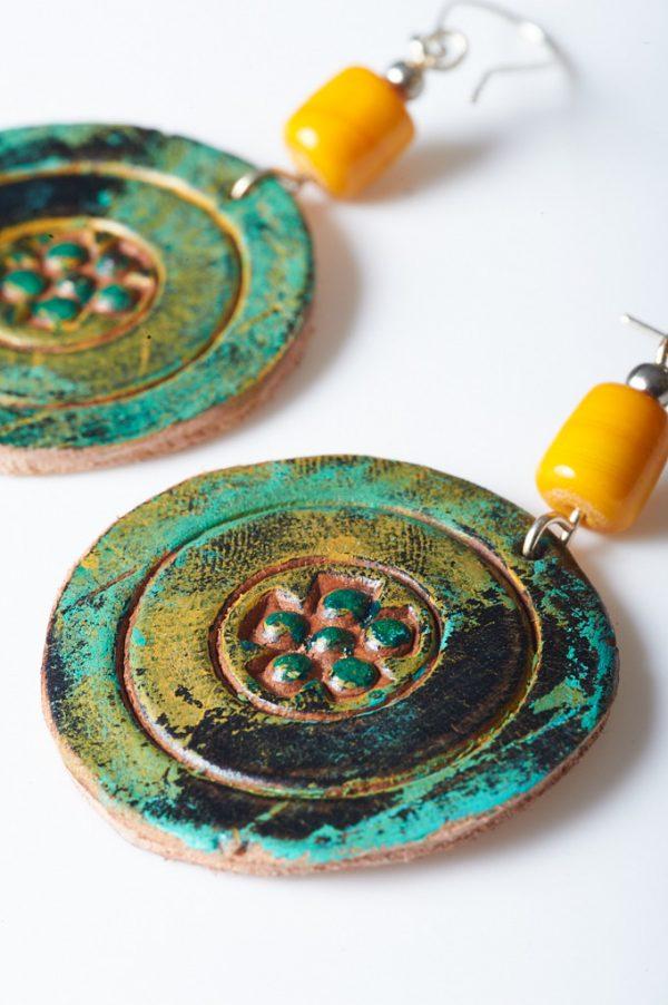 Boho Hand Painted Leather Earrings 2 - Handmade Leather Earrings by Ertisun 17