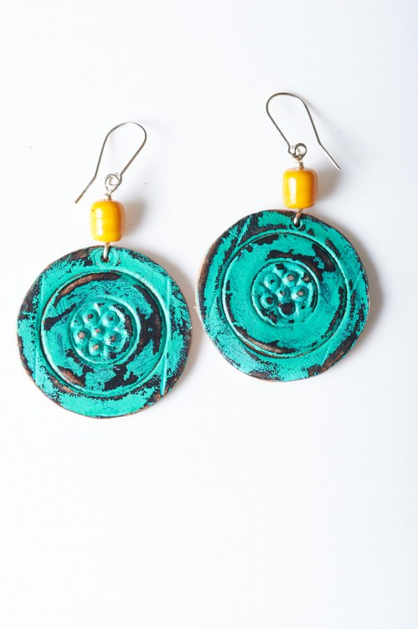 Boohoo Hand Painted Leather Earrings or Clips