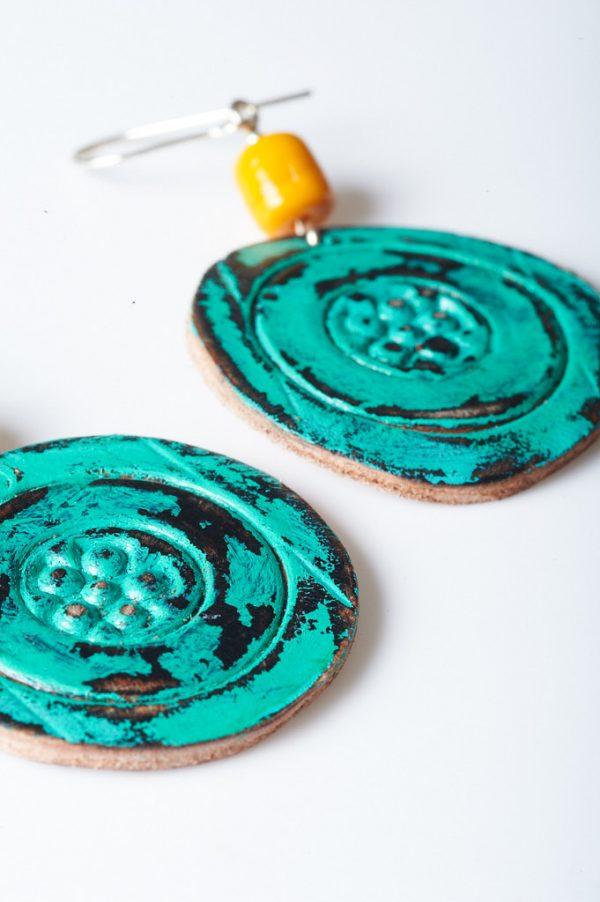 Boho Hand Painted Leather Earrings 1 - Handmade Leather Earrings by Ertisun 21