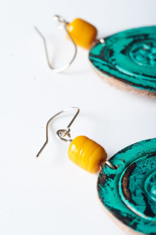Boho Hand Painted Leather Earrings 1 - Handmade Leather Earrings by Ertisun 23