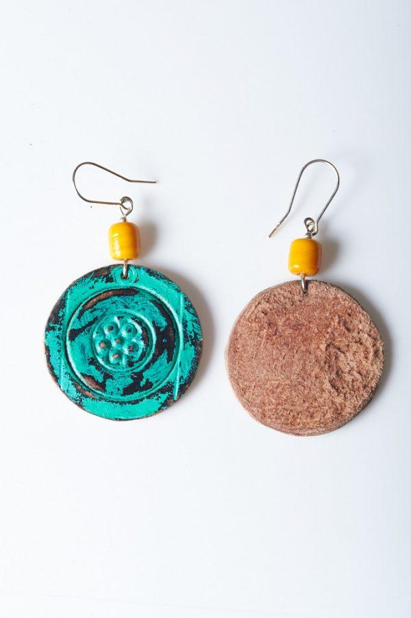 Boho Hand Painted Leather Earrings 1 - Handmade Leather Earrings by Ertisun 24
