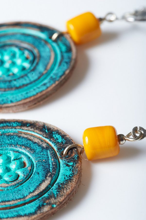 Boohoo Hand Painted Leather Clips 3 - Handmade Leather Earrings by Ertisun 27