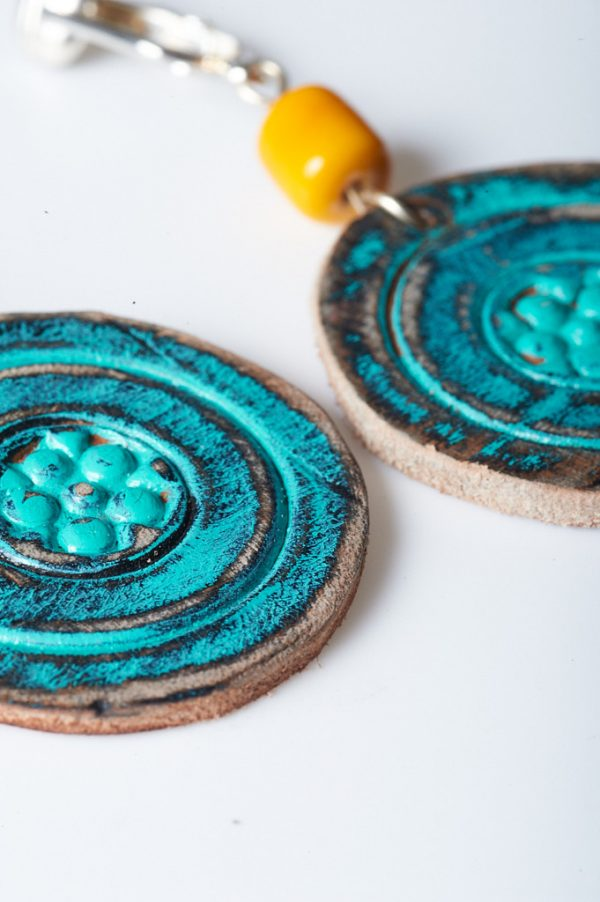 Boohoo Hand Painted Leather Clips 3 - Handmade Leather Earrings by Ertisun 28