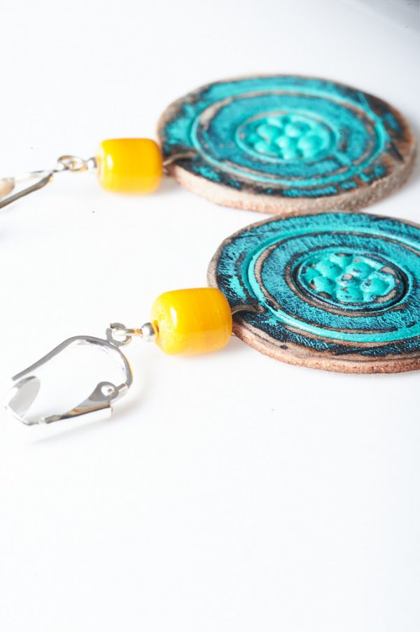 Boohoo Hand Painted Leather Clips 3 - Handmade Leather Earrings by Ertisun 29