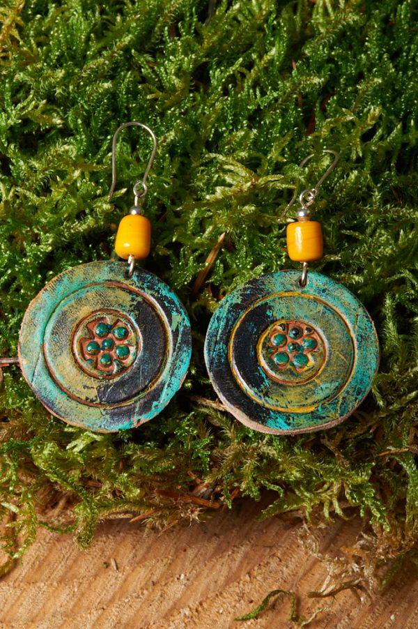 Boho Hand Painted Leather Earrings 2 - Handmade Leather Earrings by Ertisun 4