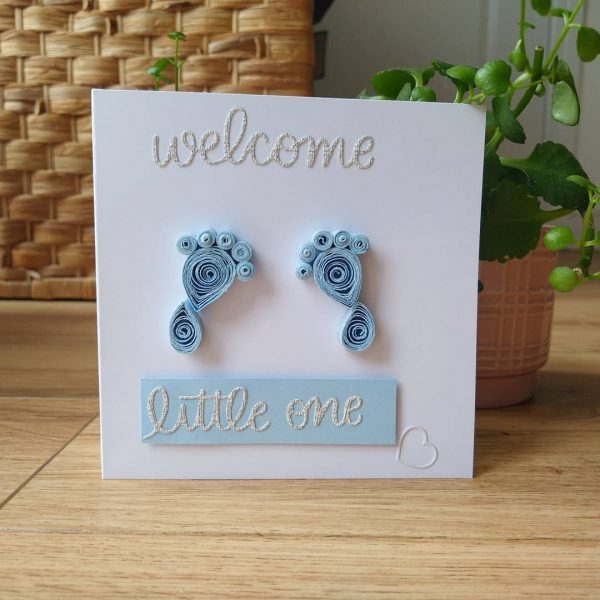 Quilled New Baby Feet Card