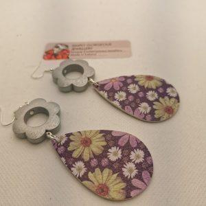 Purple Floral & Grey Daisy Earrings