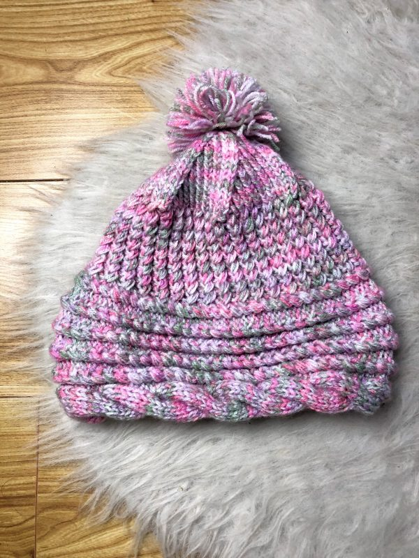 Pink Handmade Cable Knit Hat with Pompom - IMG 2816