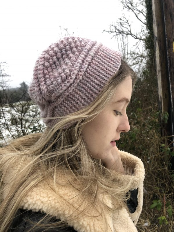 Handmade Pink Knitted Slouchy Hat - IMG 2855 rotated