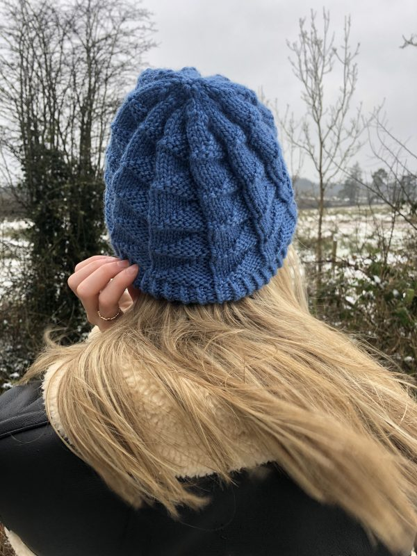 Handmade Knitted Blue Beanie Hat