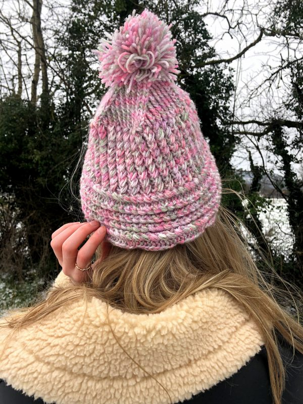 Pink Handmade Cable Knit Hat with Pompom - IMG 2895