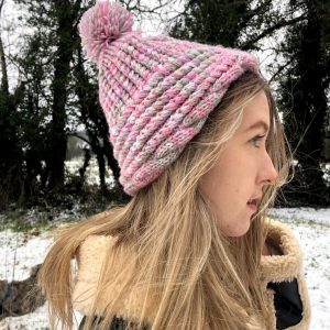 Pink Handmade Cable Knit Hat with Pompom