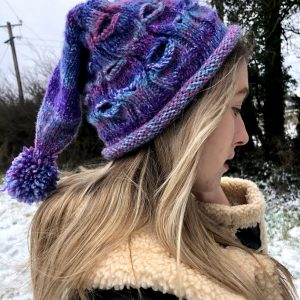 Handmade Purple Knitted Hat with Pompom