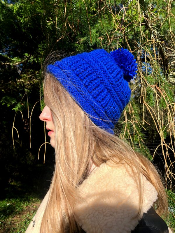 Hand Knitted Cobalt Blue Hat - IMG 3191