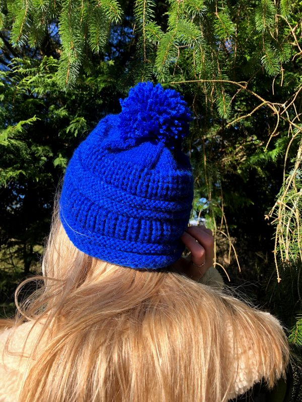 Hand Knitted Cobalt Blue Hat - IMG 3194