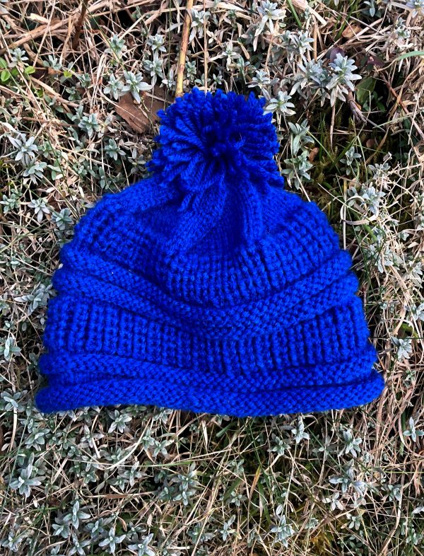Hand Knitted Cobalt Blue Hat