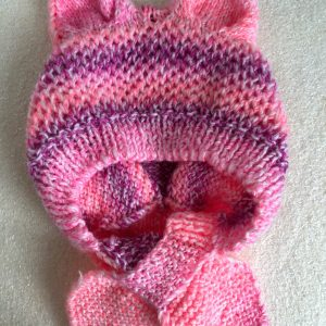 Hand Knitted Pink Child's Hat with Ears