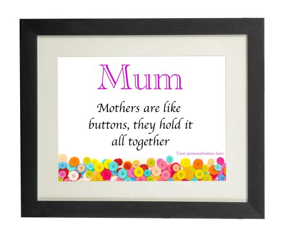 Mum's Are Like Buttons Wall Print - Mum Buttons Black frame