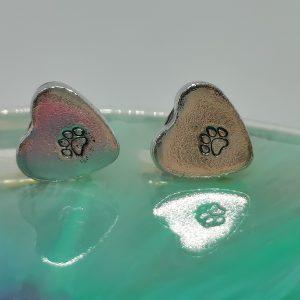 Heart Tiny Pawprint Earrings