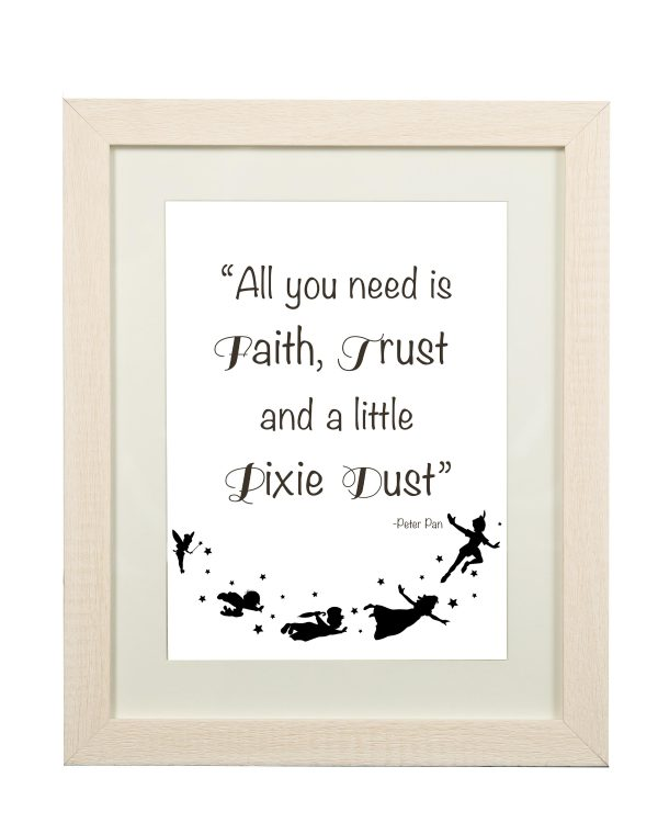Peter Pan Quote Wall Print - Peter Pan 2 Limed Frame