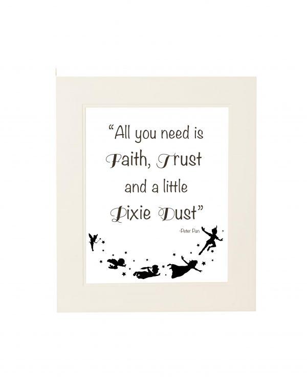 Peter Pan Quote Wall Print - Peter Pan 2 mount