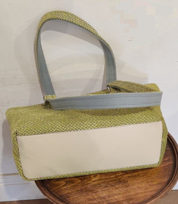 Lime Green Shoulder Bag - The leather base . NeedleSketches