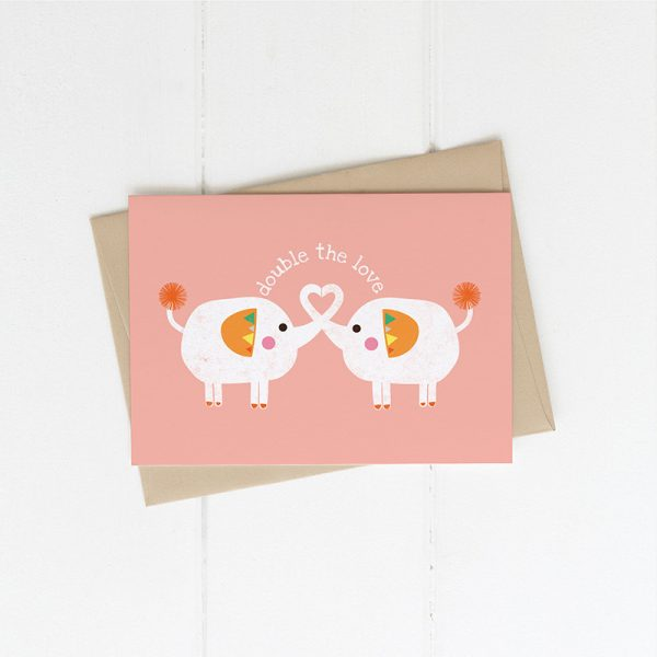 Twins - Double the love Card - peachy pink
