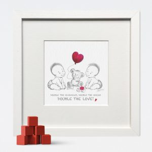 Double the Love Nursery Print for Twins